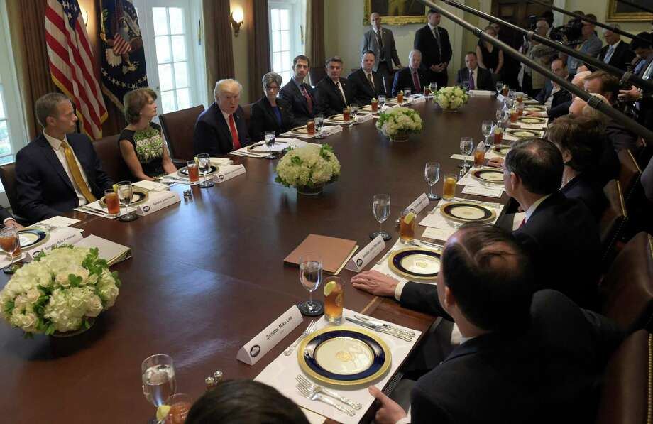 President Donald Trump speaks before having lunch with Republican Senators and White House staffers in the Cabinet Room of the White House in Washington, Tuesday, June 13, 2017. (AP Photo/Susan Walsh) Photo: Susan Walsh, STF / Copyright 2017 The Associated Press. All rights reserved.