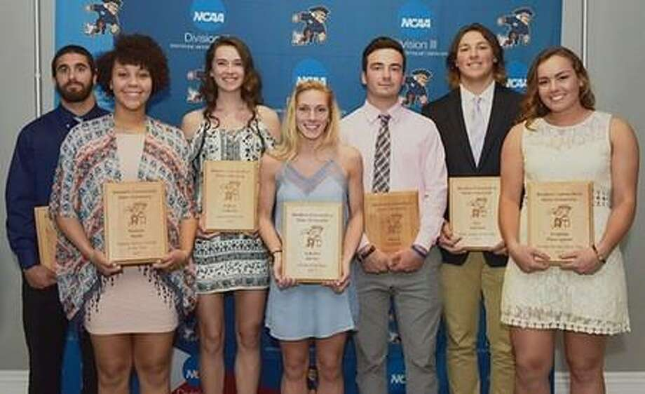 The Western Connecticut State University athletic department awarded several of its athletes for their accomplishments this past year at its annual awards banquet. Pictured are, from left,Brennen Diaz (football/Male Scholar Athlete); Karissa Smith (women's volleyball/Female Scholar Athlete); Kaitlyn LaBonte (women's basketball/Colonial of the Year); Autumn Sorice (women's soccer/Female Athlete of the Year); Shane Bierfeldt (men's soccer/Male Athlete of the Year); Eric Caldwell (men's lacrosse/Male Rookie of the Year); and Charline Plasczynski (softball/Female Rookie of the Year). Photo: Contributed Photo / Contributed Photo