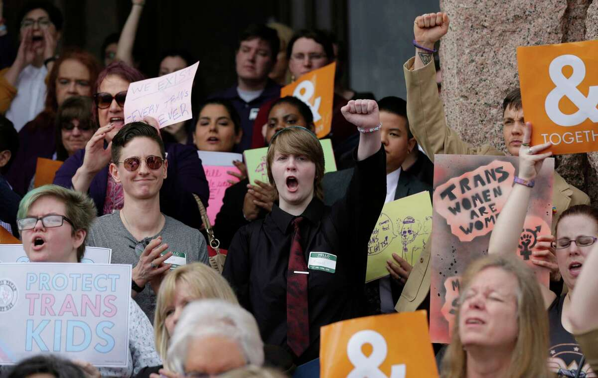 """Supporters of the transgender community take part in a March rally on the steps of the Texas Capitol to protest a """"bathroom bill."""" The issue will be addressed again in the special session."""