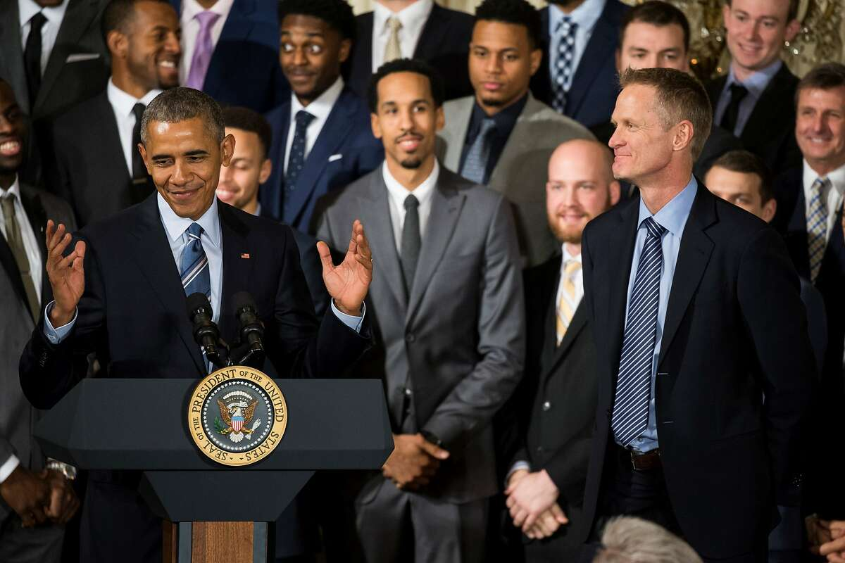 WASHINGTON, USA - FEBRUARY 4: President Barack Obama congratulates Steve Kerr (R), Head Coach of the 2015 NBA Champions, the Golden State Warriors, in the East Room of the White House in Washington, USA on February 4, 2016. ~~