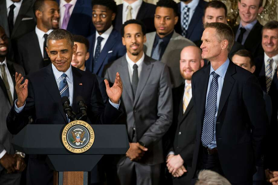 PHOTOS: 2017 World Series champion Astros visit the White House  WASHINGTON, USA - FEBRUARY 4: President Barack Obama congratulates Steve Kerr (R), Head Coach of the 2015 NBA Champions, the Golden State Warriors, in the East Room of the White House in Washington, USA on February 4, 2016. >>>Browse through the photos for a look at the Astros' visit to the White House after winning the 2017 World Series title ...  Photo: Anadolu Agency / Getty Images