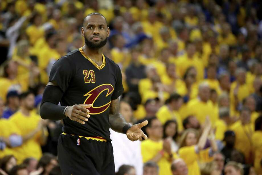 OAKLAND, CA - JUNE 12:  LeBron James #23 of the Cleveland Cavaliers reacts against the Golden State Warriors in Game 5 of the 2017 NBA Finals at ORACLE Arena on June 12, 2017 in Oakland, California. NOTE TO USER: User expressly acknowledges and agrees that, by downloading and or using this photograph, User is consenting to the terms and conditions of the Getty Images License Agreement.  (Photo by Ezra Shaw/Getty Images) ORG XMIT: 700056191 Photo: Ezra Shaw / 2017 Getty Images