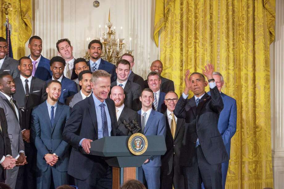 WASHINGTON, DC - On Thursday, February 4, Golden State Warriors head basketball coach Steve Kerr speaks in the East Room of the White House as the team looks on and President Obama pretends to shoot a jumper. (Photo by Cheriss May/NurPhoto) (Photo by NurPhoto/NurPhoto via Getty Images) Photo: NurPhoto / NurPhoto Via Getty Images / This content is subject to copyright.