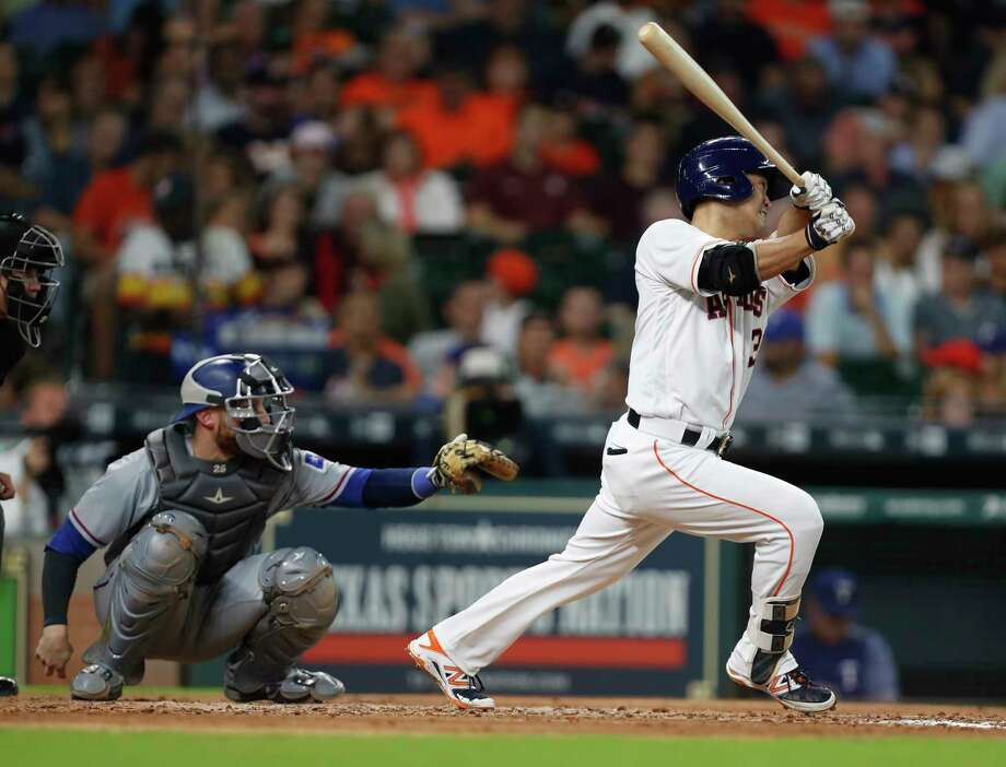 Houston Astros Norichika Aoki (3) hits a double during the third inning of an MLB game at Minute Maid Park, Tuesday June, 13, 2017. Photo: Karen Warren, Houston Chronicle / 2017 Houston Chronicle