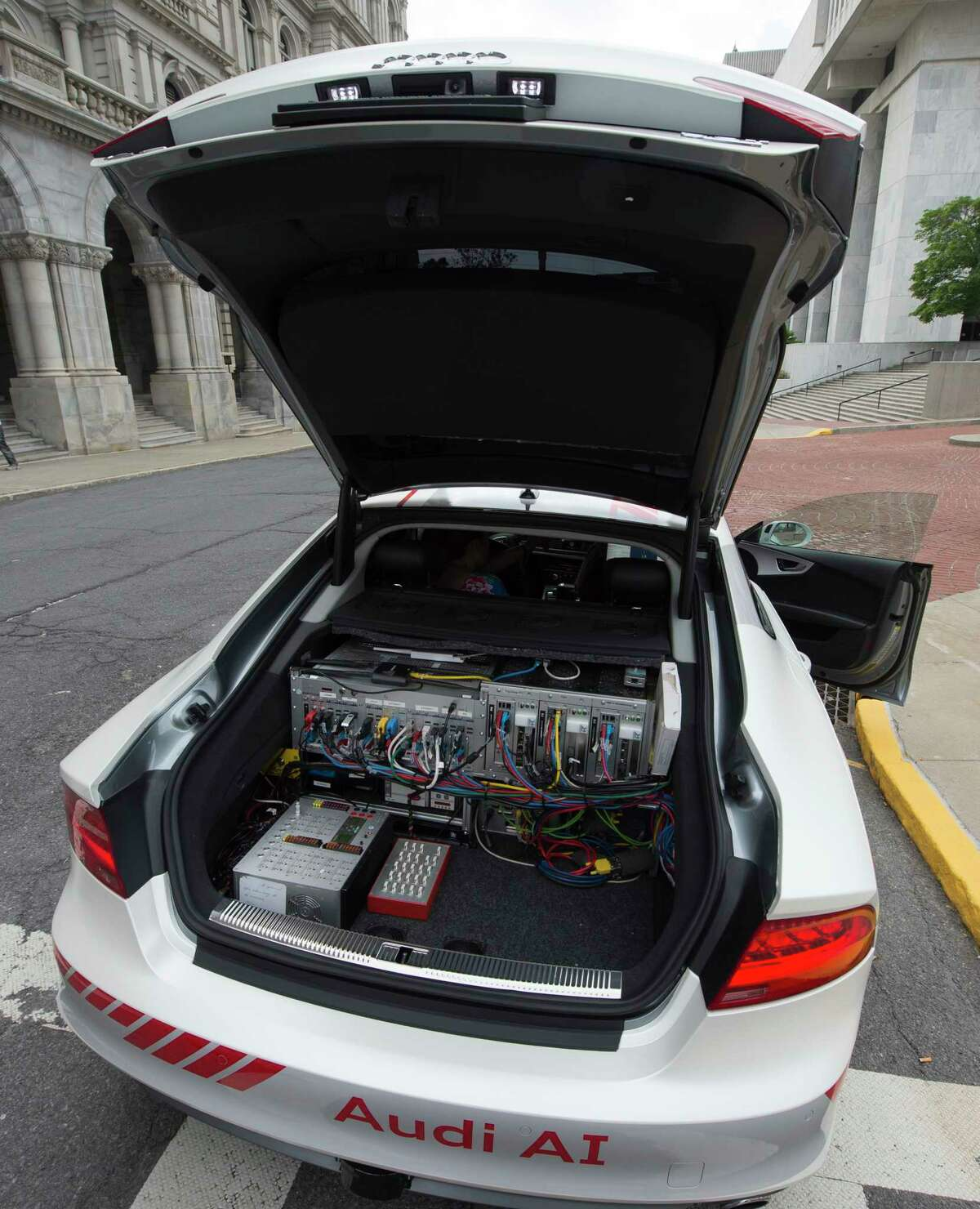 An Audi A-1 was on display and driven to demonstrate the new driverless technology at the State Capitol Tuesday June 13, 2017 at the State Capitol in Albany, N.Y. (Skip Dickstein/Times Union)