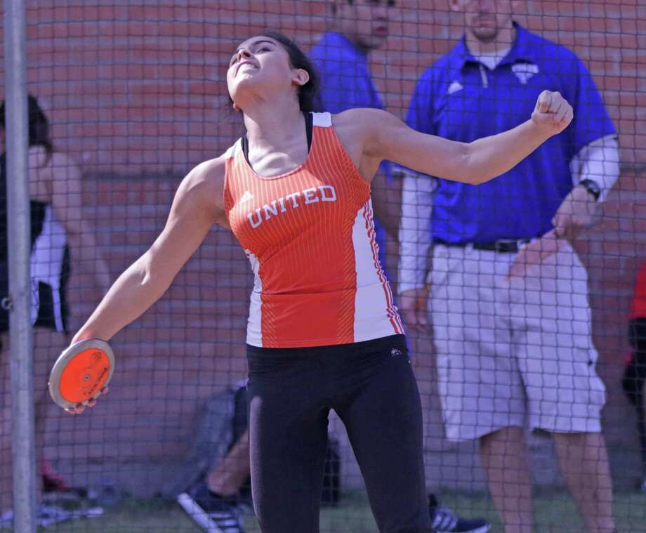 United's Sadey Rodriguez placed third at the state meet in the discus and she's ranked No. 6 in her class academically. Photo: Clara Sandoval / Laredo Morning Times File