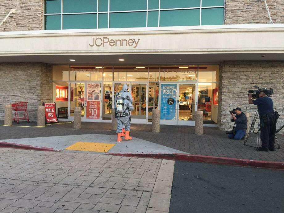 An unknown substance released into the air at a J.C. Penny department store in Antioch sickened 11 people Tuesday, officials said.