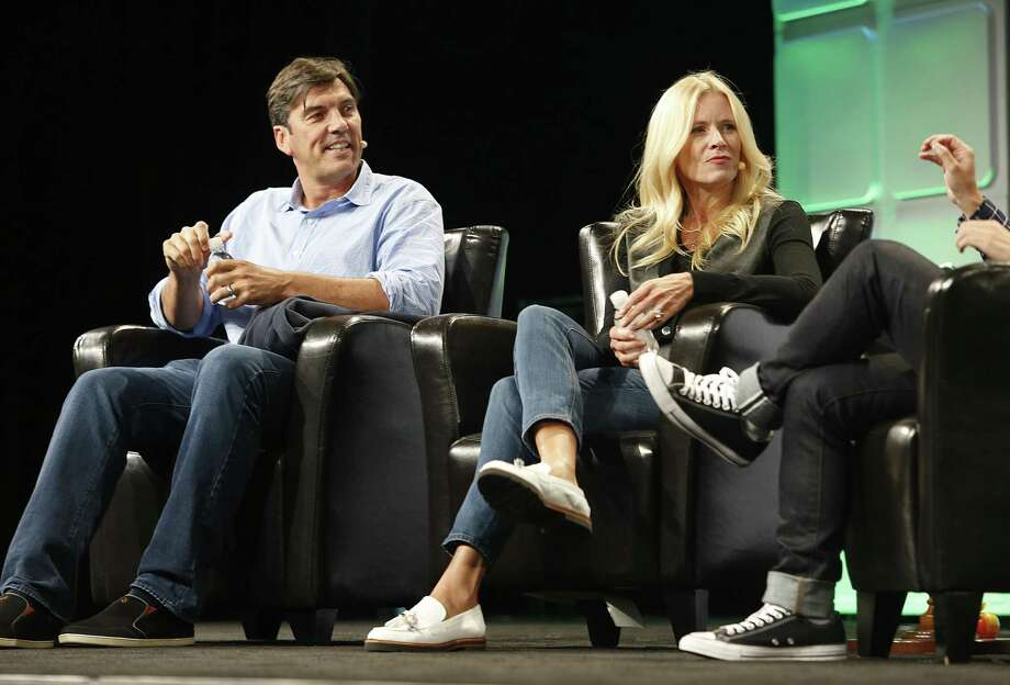 Tim Armstrong, left, with Verizon's Marni Walden in September 2016 in San Francisco. On June 13, 2017, Verizon announced the completion of its acquisition of Yahoo and installed Armstrong as CEO of a new subsidiary called Oath that includes Yahoo, AOL, HuffPost and other web brands. Photo: Liz Hafalia / The Chronicle / online_yes