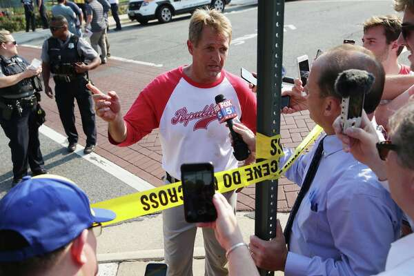 U.S. Sen. Jeff Flake (R-AZ) briefs members of the media near Eugene Simpson Stadium Park where a shooting took place on June 14, 2017 in Alexandria, Virginia. U.S. House Majority Whip Rep. Steve Scalise (R-LA) and multiple congressional aides were shot by a gunman during a Republican baseball practice.  (Photo by Alex Wong/Getty Images)