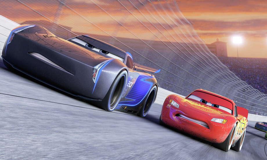 """Jackson Storm (voice of Armie Hammer), a frontrunner in the next generation of racers, posts speeds that even Lightning McQueen (voice of Owen Wilson) hasn't seen, in """"Cars 3."""" Photo: Disney-Pixar / ©2016 Disney-Pixar"""