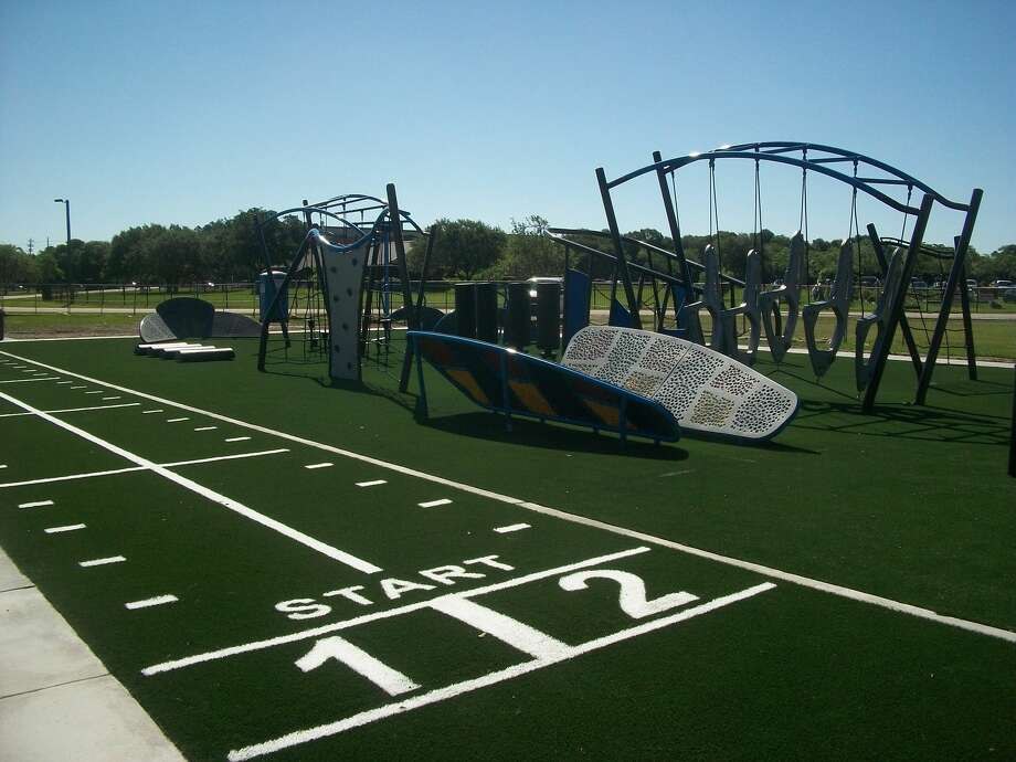 "Described as ""NFL Combine meets Ninja Warrior,"" this new Challenge Course at Tom Bass Park near Pearland is full of obstacles designed to enhance speed, agility and strength for teenagers and adults. The course, designed by the Carolina Panthers and the company GameTime, officially opened on Monday, June 12. Photo: Harris County Commissioner Rodney Ellis' Office"