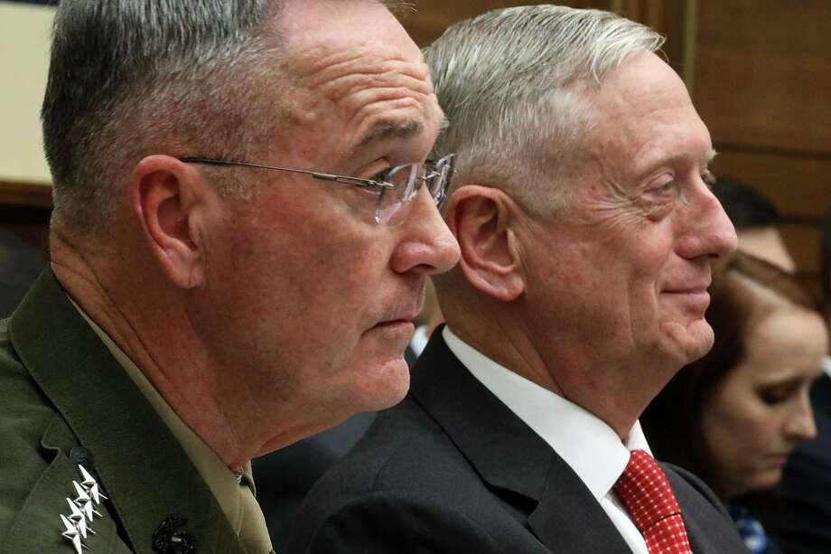 Joint Chiefs of Staff Chairman Gen. Joseph Dunford (left) and Defense Secretary James Mattis testify Monday. Photo: Chip Somodevilla /Getty Images / 2017 Getty Images