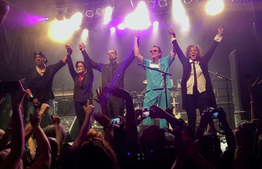 The Revolution was the backing band for Prince in the 1980s. The band included, from left, bassist Mark Brown, guitarist Wendy Melvoin, drummer Bobby Z (Robert Rivkin) and keyboardists Matt Fink and Lisa Coleman. Photo: Copyright 2017 Ron Harris
