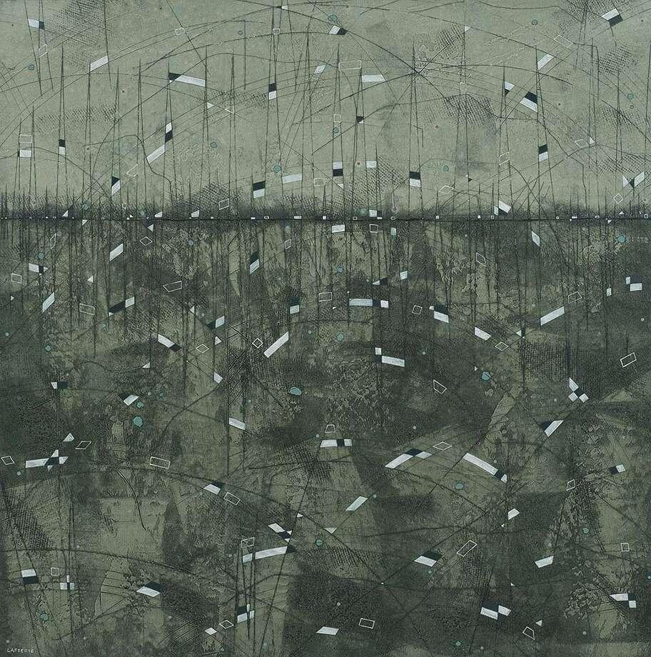 Erik Laffer Painting (Gray Color) Metallic Mesa Oil on Canvas 48x48