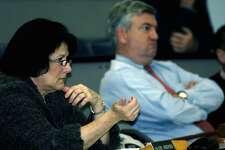Valerie Andersen and School Board Chair Jim Hirschfeld in 2011.
