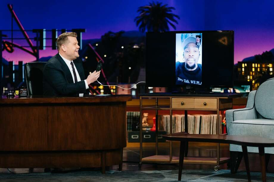 Kevin Durant on the Late Late Show With James Corden on June 13. Photo: CBS Television Network/Handout