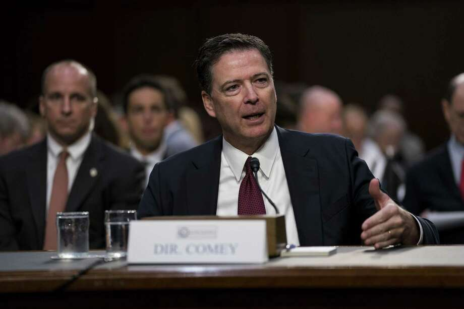 Former FBI Director James Comey testifies at a Senate Intelligence Committee hearing on Capitol Hill on Thursday. Despite feverish yearnings in some quarters, Comey did not deliver a knockout punch. Photo: DOUG MILLS /NYT / NYTNS