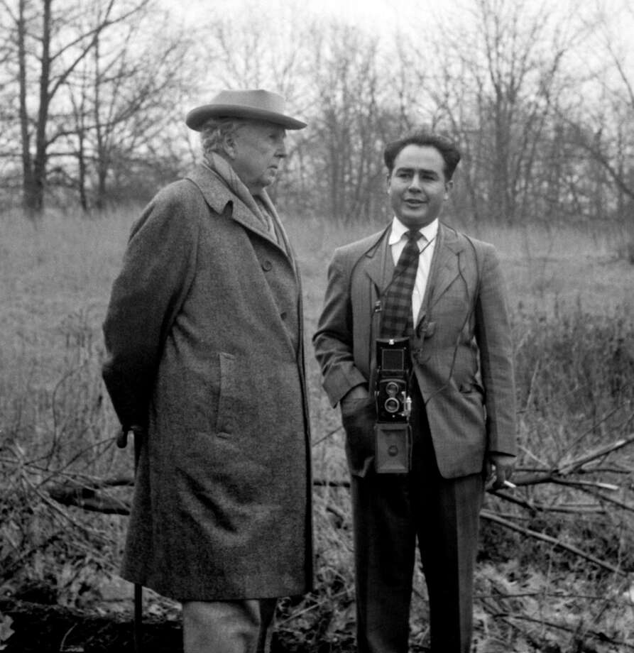 Architect Frank Lloyd Wright and photographer Pedro E. Guerrero, Pleasantville, New York, 1949. Photo: Contributed / Contributed Photo / New Canaan News