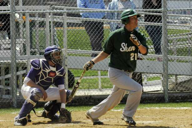 Shenendehowa's Justin Yurchak gets a hit during their boy's high school baseball game against Troy on Saturday April 27, 2013 in Troy, N.Y. (Michael P. Farrell/Times Union)