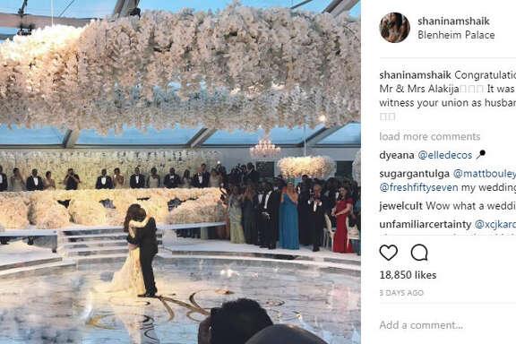 Folarin Alakija, son of Nigeria's richest woman, married his fiance, Nazanin Jafarian Ghaissarifar in a lavish $6.4 million celebration at the Blenheim Palace in Oxfordshire.   Photo:  @shaninamshaik Instagram