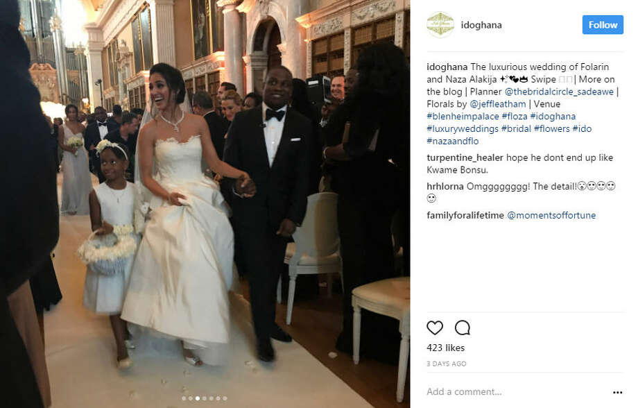 Folarin Alakija, son of Nigeria's richest woman, married his fiance, Nazanin Jafarian Ghaissarifar in a lavish $6.4 million celebration at the Blenheim Palace in Oxfordshire.Photo: @idoghana Instagram Photo: Instagram