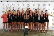 Caitlin Esse of New Canaan and teammates celebrate after three-peating as national champions in the womens youth 8+ event at youth nationals. L-R: SRC assistant girls coach Anna Yamamoto, Noelle Amlicke, Westport; Kelsey McGinley, Westport; Imogen Ratcliffe, Westport; Willemijn ten Cate, Westport; coxswain Charlotte Powers, Fairfield; SRC girls head coach Gordon Getsinger; Tatiana Chermayeff, Rowayton; Grace McGinley, Westport; Caitlin Esse, New Canaan; and Sophie Pendrill, Scarsdale, NY.