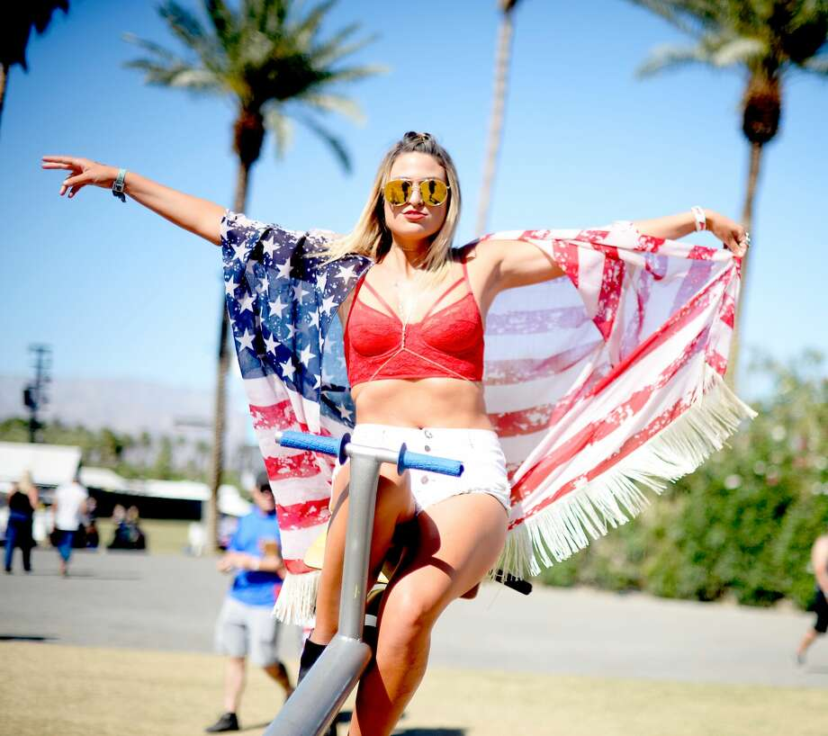This flag shawl protects sunburns and freedom. Photo: Matt Cowan/Getty Images For Stagecoach