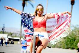 This flag shawl protects sunburns and freedom.