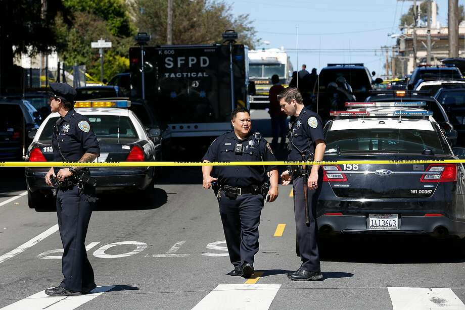 View from Vermont aand 17th streets, a block from the mass shooting incident inside a UPS facility where four were dead, inlcuding the shooter, on Wednesday, June 14, 2017, in San Francisco, Calif. Photo: Liz Hafalia, The Chronicle