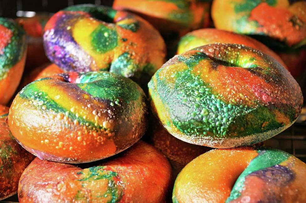 Wagel Bagels, a multi-colored bagel, waiting to be sold at West End Bagels Thursday Feb. 18, 2016 in Clifton Park, NY. (John Carl D'Annibale / Times Union)