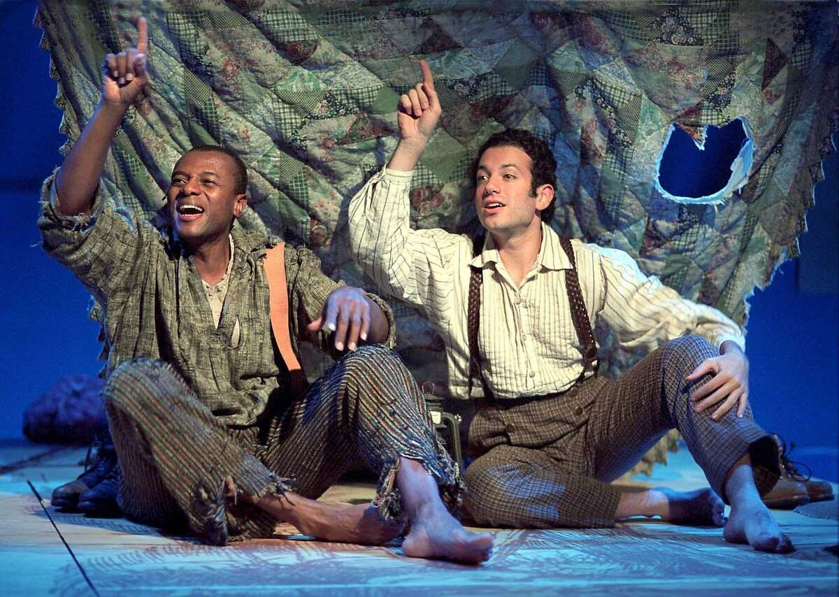 (Left to Right) Rufus Bonds Jr. as Jim and Tyrone Giordano as Huck Finn in a scene from Deaf West Theatre's production of ``Big River,'' which was a hit earlier this season at the Mark Taper Forum in Los Angeles. The musical, based on Mark Twain's ``The Adventures of Huckleberry Finn,'' is expected to play Broadway this summer at the American Airlines Theatre. (AP Photo/Craig Schwartz)