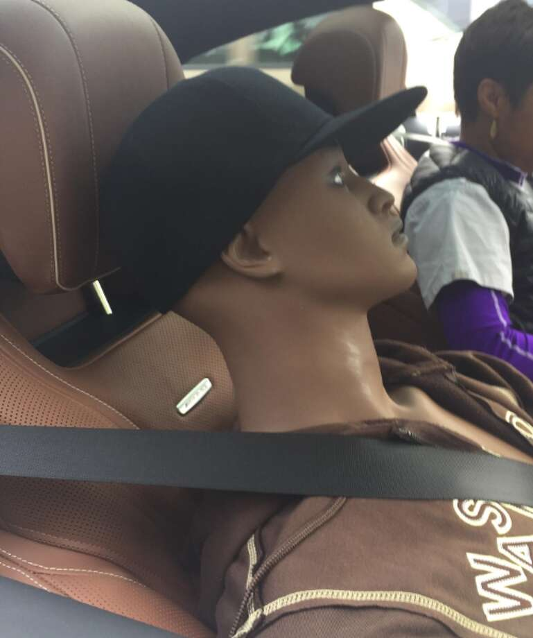 A Renton police officer stopped this dummy and mannequin Wednesday morning, June 14, 2017. Photo: Renton Police Department