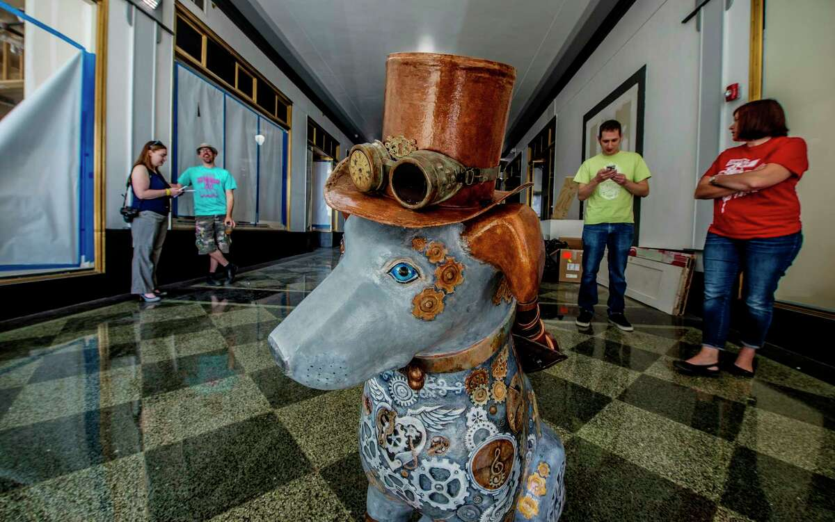 Steampunk Nipper is readied for his new home on the streets of the City of Albany on Wednesday, June 14, 2017, in Albany, N.Y. (Skip Dickstein/Times Union)