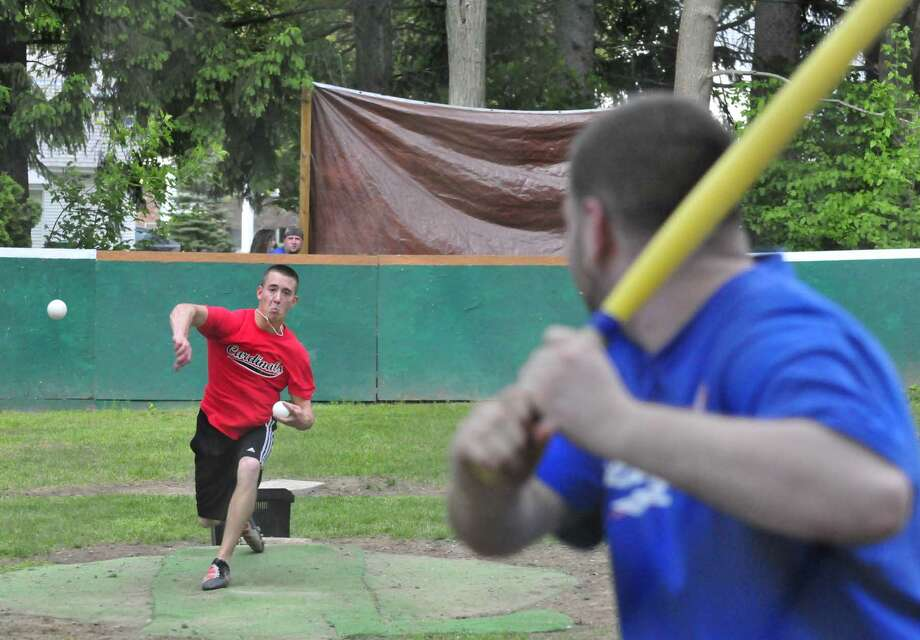 Cards's pitcher Chris Horwedel lets one fly as the Dodgers and Cardinals face off in a league game of wiffle ball at the Hess Wiffle Ball Field in Glenville, NY Tuesday May 24, 2011.( Michael P. Farrell/Times Union ) Photo: Michael P. Farrell / 00013242A