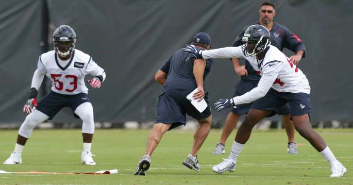 Houston Texans linebackers Sio Moore (53) and Gimel President (54) during a practice drill at Texans minicap at Texans Practice facility Wednesday, June 14, 2017, in Houston.
