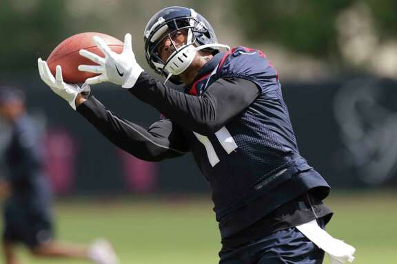 Houston Texans wide receiver Jaelen Strong during a practice drill at Texans minicap at Texans Practice facility Wednesday, June 14, 2017, in Houston.