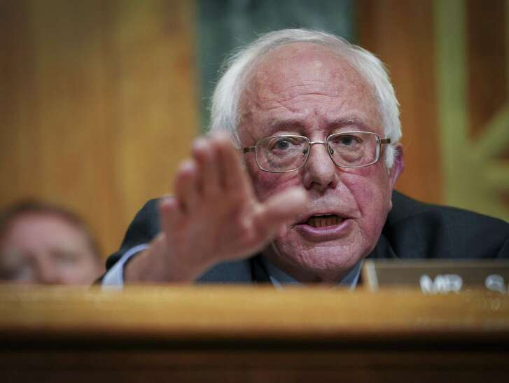 Sen. Bernie Sanders, shown here during a Senate Budget Committee hearing last month, recently questioned Russell Vought, seeking confirmation as deputy director of the Office of Management and Budget, on his views on salvation.
