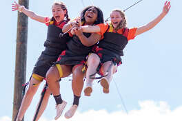 Campers take a turn on the giant swing during Stonegate Fellowship's summer camp in Glorieta, NM.  Photo by Dallas Daley