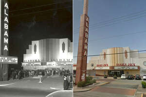 The Alabama Theatre in 1939 next to Trader Joe's in 2017. The business may have changed, but the classic design of the building has remained similar.