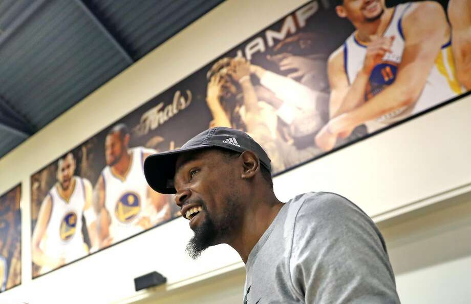 Golden State Warriors' Kevin Durant during media availability at the Warriors' practice facility in Oakland, Calif., on Wednesday, June 14, 2017. Photo: Scott Strazzante, The Chronicle