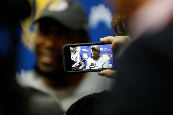 Golden State Warriors' Kevin Durant during media availability at the Warriors' practice facility in Oakland, Calif., on Wednesday, June 14, 2017.