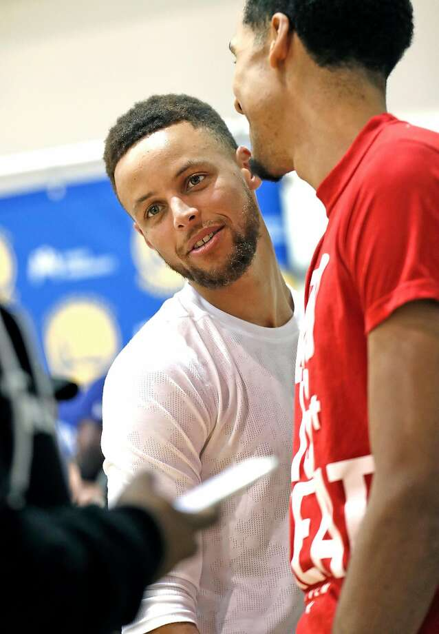 Golden State Warriors' Stephen Curry and Shaun Livingston during media availability at the Warriors' practice facility in Oakland, Calif., on Wednesday, June 14, 2017. Photo: Scott Strazzante, The Chronicle