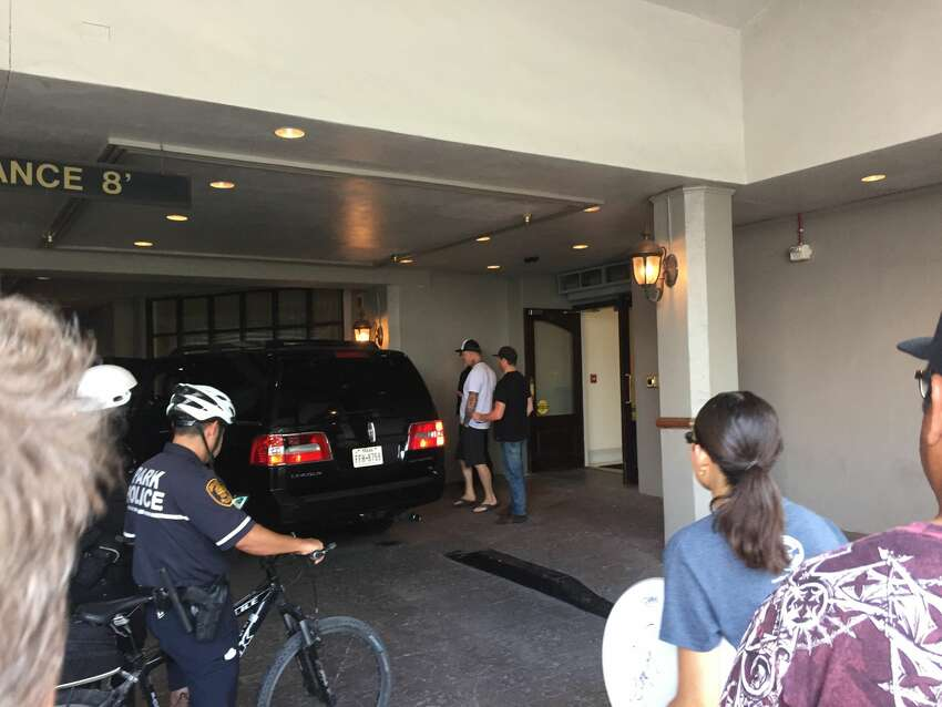 While in San Antonio for one of the biggest shows of the year, Metallica appeared to be staying at the St. Anthony Hotel, according to local metal heads. This photo taken hours before their June concert shows the band crew gathering in the hotel entrance.
