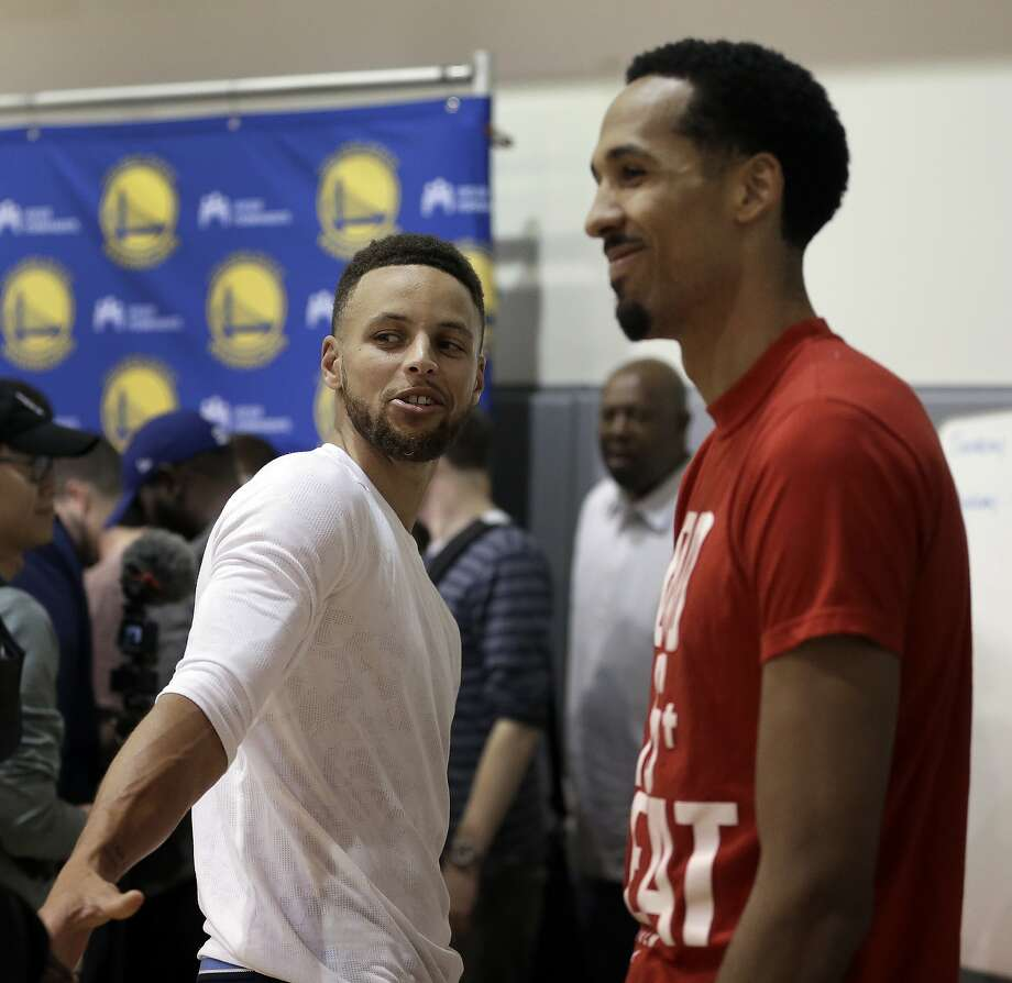 Golden State Warriors' Stephen Curry, left, and Shaun Livingston speak with reporters during a news conference Wednesday, June 14, 2017, in Oakland, Calif. The Warriors won the NBA championship over the Cleveland Cavaliers earlier in the week.. (AP Photo/Ben Margot) Photo: Ben Margot, Associated Press