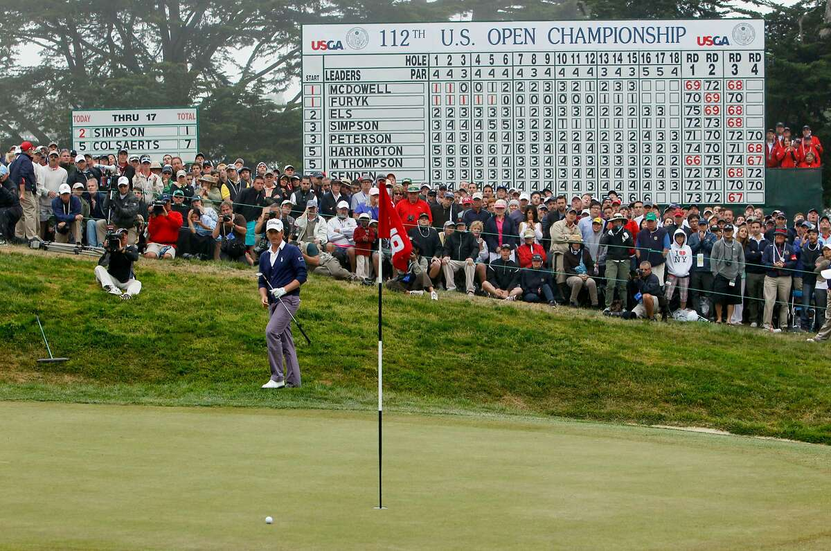Webb Simpson puts his chip close on the final hole to make a par, during the final round of the United States Open Championship being played at the Olympic Club in San Francisco, Ca., on Sunday June 17, 2012.