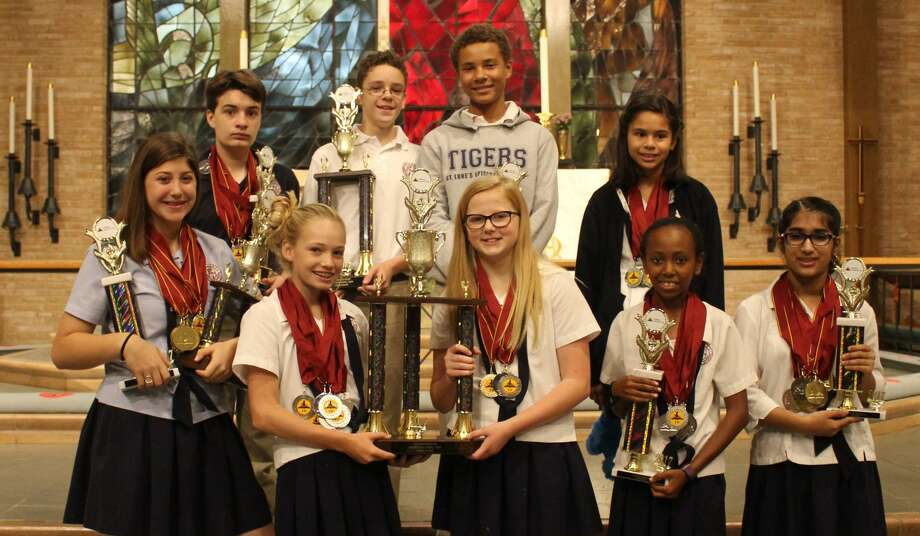 A team from St. Luke's Episcopal School won top honors in the World Scholars Cup regionals in Houston and will advance to the academic competition's global round. Front row: Claire Brown, Margaret Stevens, Ella Gunn, Ainsley Hunter, Malaika Koreshi; back row: Duncan Rattray, Samuel Spezia-Lindner, Gavin Walker, Gabrielle Luna. Photo: St. Luke's Episcopal School /Courtesy