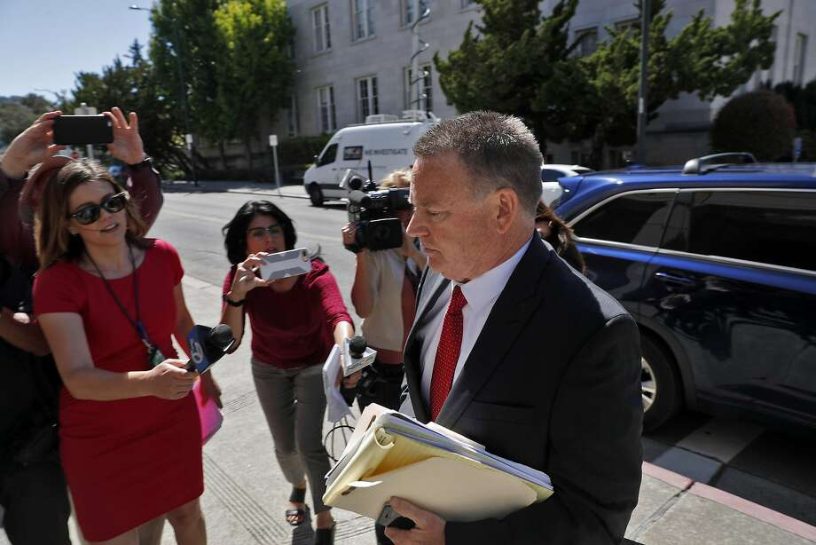 FILE – Contra Costa County District Attorney Mark Peterson walks into the A.F. Bray Court Building for his court appearance on 13 felony charges related to misuse of campaign funds and perjury in Martinez in this file photo from Wednesday, June 14, 2017. Peterson has been suspended by the California bar. Photo: Carlos Avila Gonzalez, The Chronicle