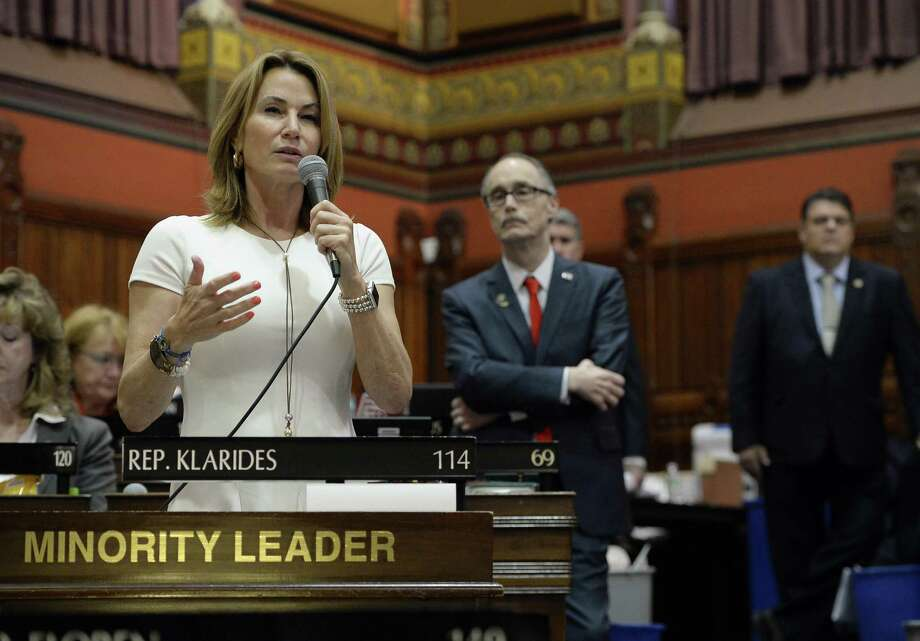 House Minority Leader Themis Klarides, R-Derby, speaks to the House on the final day of session at the state Capitol in Hartford on June 7. Photo: Jessica Hill / Associated Press / AP2017