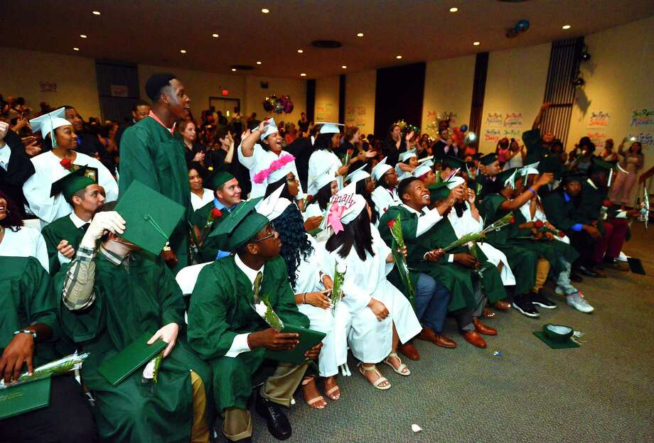 Stamford Academy Class of 2017 celebrate graduating and receiving their diplomas in a ceremony at Trailblazers Academy in Stamford, Conn., on Wednesday, June 14, 2017. Photo: Matthew Brown, Hearst Connecticut Media / Stamford Advocate