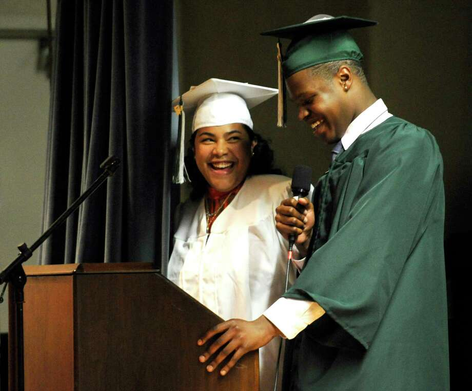 Class Speakers Cristian Colvin and Mya Valentin address Stamford Academy Class of 2017 Graduation Ceremony at Trailblazers Academy for in Stamford, Conn., on Wednesday, June 14, 2017. Photo: Matthew Brown, Hearst Connecticut Media / Stamford Advocate